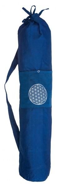 "Yogatasche ""Blume des Lebens"" Baumwolle blau 20x80cm"
