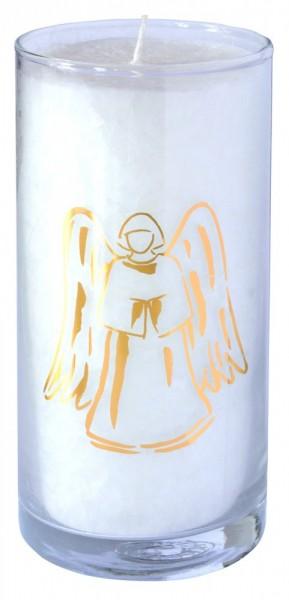 """Kerze """"Pure Engel"""" im Glas Stearin weiss 14cm"""