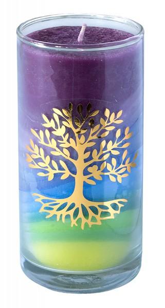 "Kerze ""Earth Lebensbaum"" im Glas Stearin 14cm"
