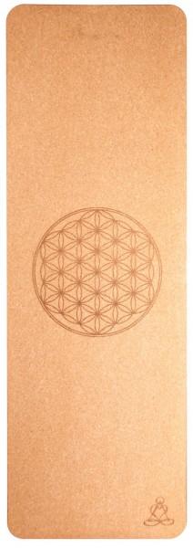 Yoga-Matte aus Kork mit Blume des Lebens